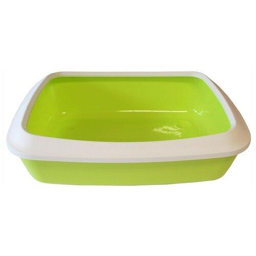 Туалет-лоток для кошек с насадкой SAVIC iriz, цвет светло-зеленый 42х31х12,5 см туалет лоток для кошек homecat 3519509 3519547 3519486 3519561 37х27х8 см зеленый 1 шт