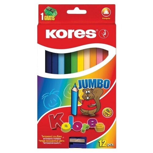 Карандаши цветные Kores 12 цветов, 3 грани, точилка, Jumbo