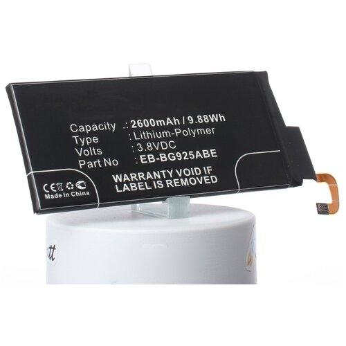 Аккумуляторная батарея iBatt 2600mAh для Samsung SM-G925I, SM-G925T, SM-G9250, SM-G925A, SM-G925X, SM-G925P, SM-G925K, SM-G925V, SM-G925L, SM-G925W8, SM-G925R4