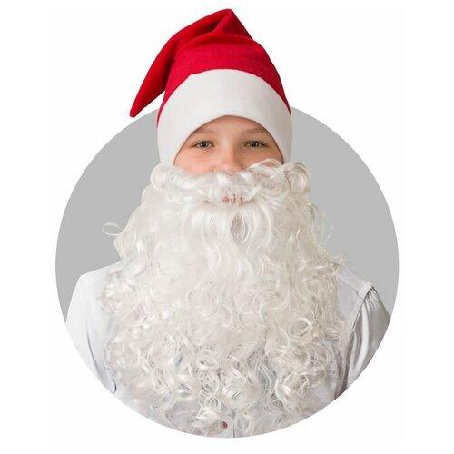 Батик Колпак новогодний с бородой, обхват головы 58 см, плюш, цвет красный