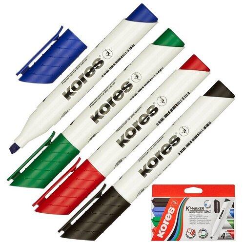Купить Маркер Для досок Kores набор 4 цвета, 3-5 мм скошенный наконечник, Маркеры