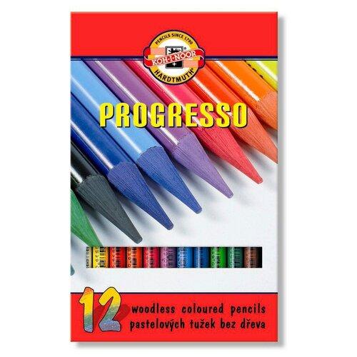 Купить Карандаши цветные Koh-I-Noor Progresso 8756 8756012007PZRU круглые 12цв. цельнографитные карт.кор. 12шт, Цветные карандаши