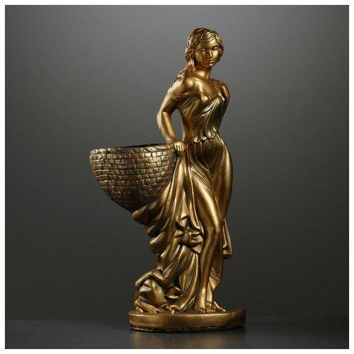 Фигура с кашпо Девушка с корзиной бронза 64см 2705879 фигура девушка сидя кашпо на голове состаренный 64см