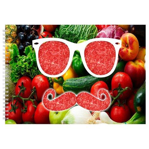 Альбом для рисования, скетчбук Овощи, очки и усы из колбасы