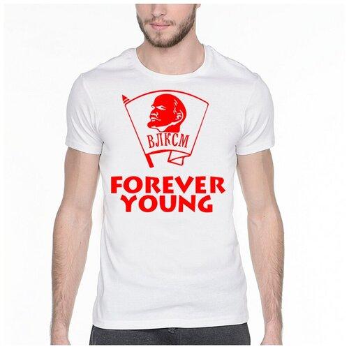 Фото - Футболка с надписью: Forever young. Цвет: белый. Размер: XS футболка laredoute с надписью i said oui wesley 0 xs белый