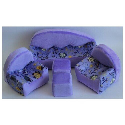 Мягкая мебель для кукол диван, 2 кресла, 2 пуфика мягкая мебель