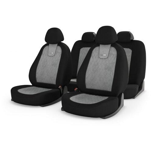 Универсальные чехлы на автомобильные сиденья CarFashion COLOMBO св.серый/черный/св.серый