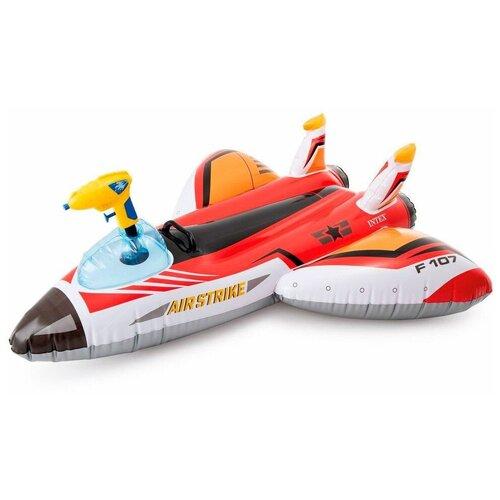 Фото - Надувная игрушка Самолет с водяным пистолетом INTEX красный, 117х117 см, от 3 лет игрушка наездник надувная intex черепаха с ручками intex 191х170 от 3 лет 57555