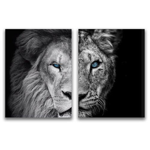 Комплект картин на холсте LOFTime 2шт 30Х40 ЛЕВ И львица половинки К-031-3040