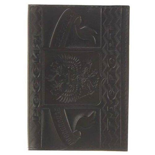 Обложка для паспорта Главдор GL-226 натуральная кожа с тиснением Black 51824