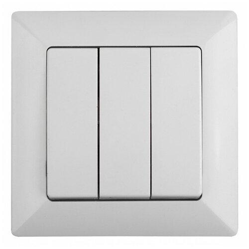 Intro 4-106-01 Intro Выключатель тройной, 10А-250В, СУ, Solo, белый (10/200/2400)