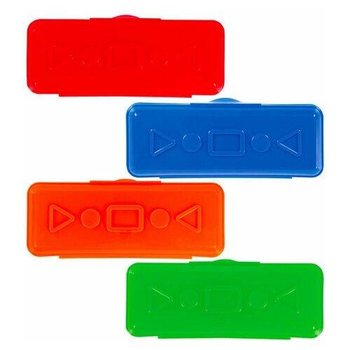 Купить Пенал пластиковый пифагор однотонный, ассорти 4 цвета, 20х7х4 см, 228114, Пифагор, Пеналы