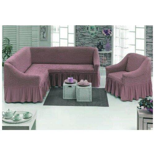 Чехлы на угловой диван и кресло, цвет: сиреневый