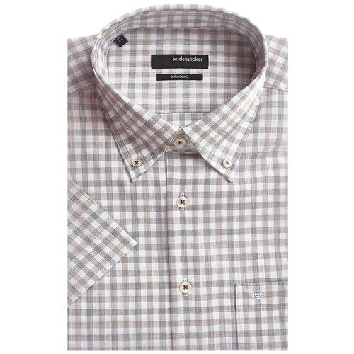 Рубашка Seidensticker размер 39 коричневый/белый
