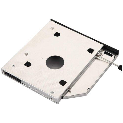 Салазки(переходник) в ноутбук для дополнительного жесткого диска (SSD/HDD) 9.5 мм в отсек вместо штатного CD/DVD SATA 9.5mm optibay с комплектом винтов, отверткой и заглушкой.
