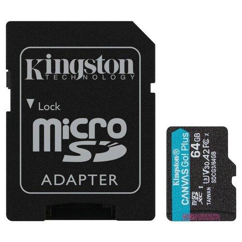 Фото - Карта памяти Kingston Canvas Go! Plus microSDXC UHS-I Cl10 +ад, SDCG3/64Gb карта памяти kingston canvas select plus microsdxc uhs i ад sdcs2 128gb