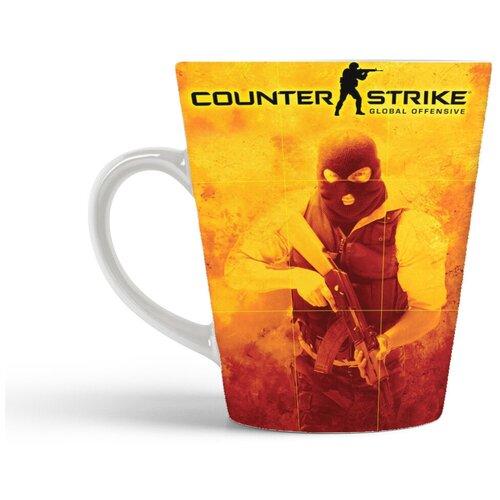 Кружка-латте CoolPodarok Контра Кс Кс Го 1 6 Соурс Counter Strike Cs Cs Go Cs 1 6 Source (оранжевый фон и лого)