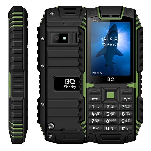 Сотовый телефон BQ 2447 Sharky Black-Green сотовый телефон bq 3590 step xxl black green