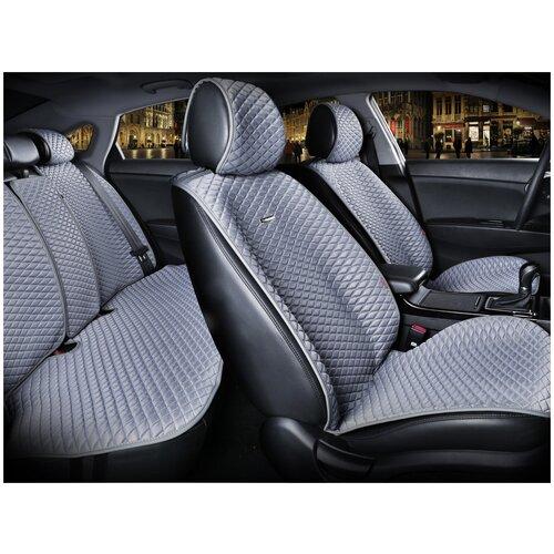 Комплект накидок на автомобильные сиденья CarFashion PALERMO PLUS серый/св.серый