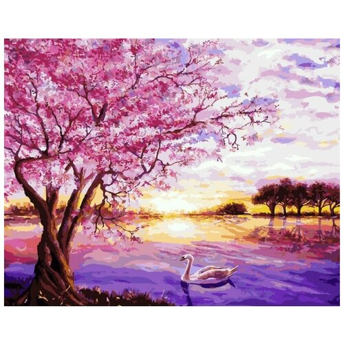 Картина по номерам Цветной «Сакура и лебедь» (холст на подрамнике, 30х40 см), Картины по номерам и контурам  - купить со скидкой