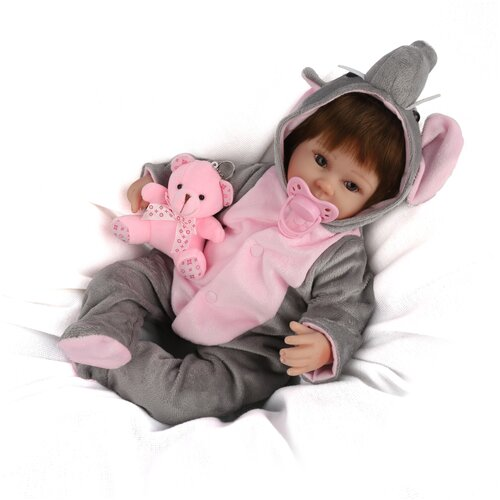 Reborn Kaydora Кукла Реборн мягконабивная (Reborn Cloth Body Doll 16 inch) Мальчик в серой пижаме с зайчиком (40 см)