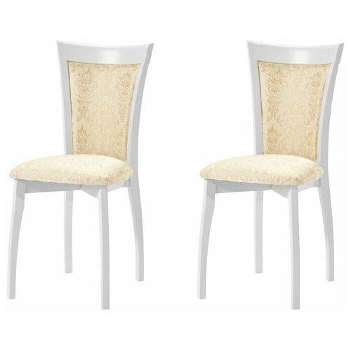 Комплект стульев Аврора Тулон с мягкой спинкой, Эмаль белая, Андрис Вензель 160 беж 2 шт