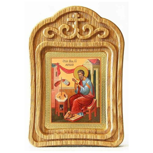 Апостол Матфей, евангелист, икона в резной рамке