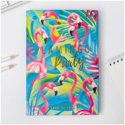 Ежедневник Flamingo party, 96 л, искусственная кожа/школьная канцелярия/подготовка к школе/подарок на 1 сентября/школьные принадлежности