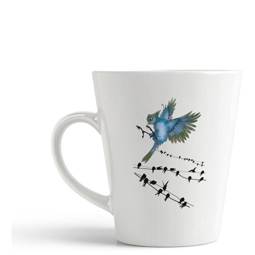 Кружка-латте CoolPodarok Синяя птичка на фоне другие
