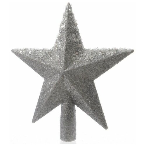 Елочная верхушка звезда серебряная с декором, пластик, глиттер, бисер, 19 см, Kaemingk 029053