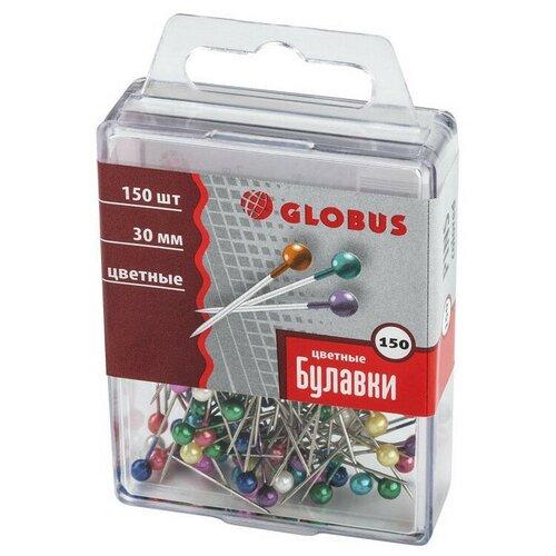 Булавки для пробковых досок Globus 30 мм 150 шт цвет ассорти, пласт.бокс 3 шт.