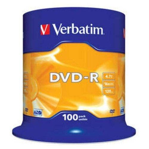 Фото - Диск DVD-R Verbatim 4.7 Gb, 16x, Cake Box (100), (100/400) диск dvd r verbatim 4 7gb 16x cake box 50 штук printable 43512