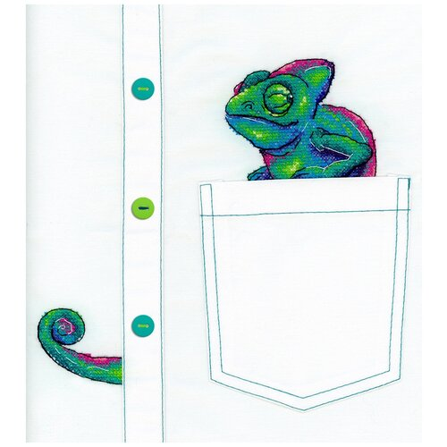 Купить Набор для вышивания М.П.Студия В №02 вышивка на одежде №253 Любопытный хамелеон 8 х 7 см 1 шт., Жар-птица, Наборы для вышивания