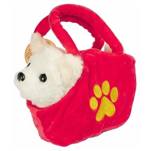 Мягкая игрушка Bondibon Собака в сумочке, белая, 14 см, лает