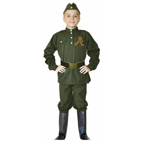 Костюм военная форма для мальчика (пилотка, гимнастерка, брюки, ремень, георгиевская лента, накладки на обувь), 34 (128-136 см)