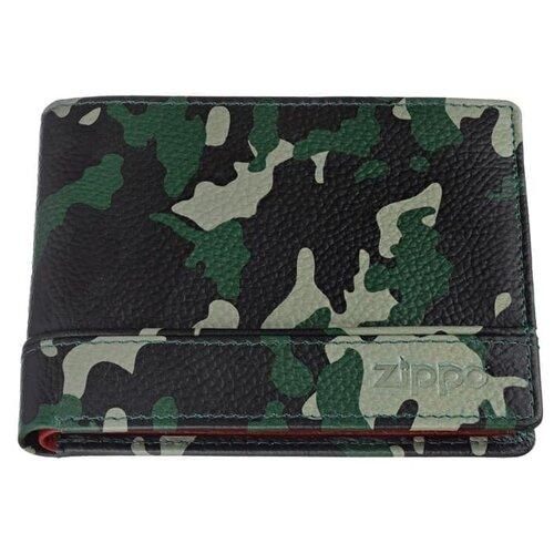 Фото - Zippo Портмоне ZIPPO, зелёно-чёрный камуфляж, натуральная кожа, 11,2?2?8,2 см портмоне zippo серо чёрный камуфляж натуральная кожа 11 2x2x8 2 см