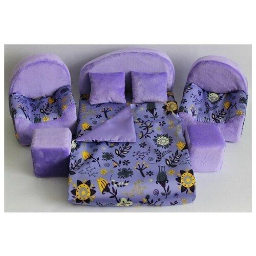 Мягкая мебель для кукол кровать, 2 кресла, 2 пуфа, 2 подушки, одеяло мягкая мебель