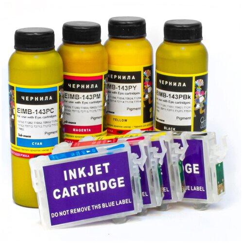 Набор перезаправляемых картриджей и чернила Ink-Mate для Epson Stylus WF-7015, SX535WD, BX305F, SX525WD, B42WD, BX625FWD, WF-7515, WF-7525