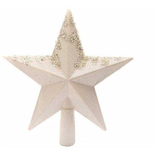 Елочная верхушка звезда белоснежная с декором, пластик, глиттер,19 см, Kaemingk 029012