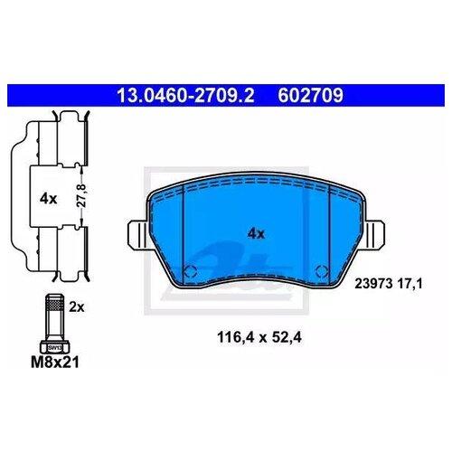 Дисковые тормозные колодки передние ATE 13.0460-2709.2 для Dacia, Renault, Nissan, Mercedes-Benz, LADA (ВАЗ) (4 шт.)
