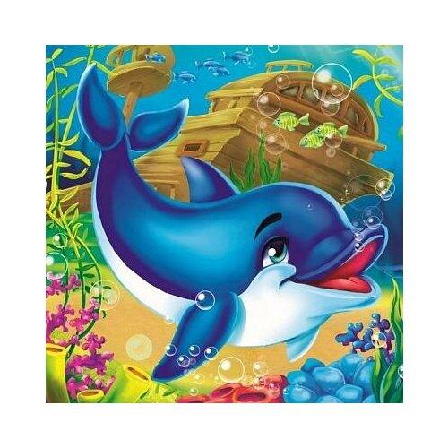 набор д творчества рыжий кот холст с красками 40х50см по номерам в коробке 24цв улыбчивая лиса х 2979 Набор для творчества Рыжий кот Холст с красками по номерам Дельфинчик в океане 20х20см