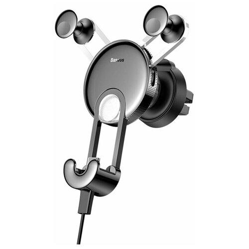 Автомобильный держатель в воздуховод с зарядным кабелем USB-Type-C Baseus Sutyy-0S Silver/Black / держатель в автомобиль / автодержатель / автодержалка / держалка в авто / держатель для авто / держатель для телефона / автомобильное крепление для телефона / держатель в машину / держатель для смартфона / универсальный держатель / автодержатель в машину