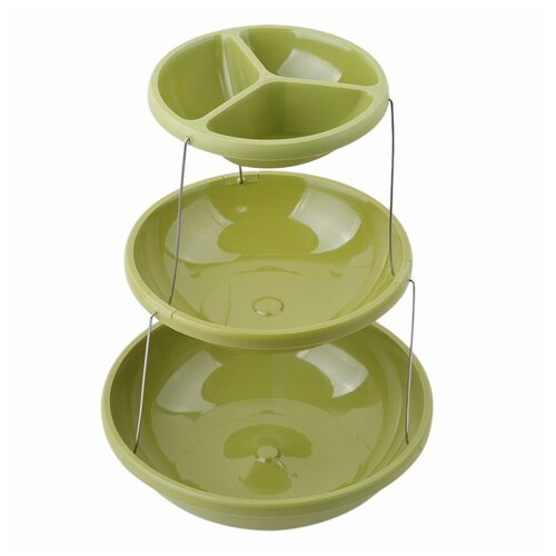 Фруктовница менажница трёхъярусная, этажерка, 28х28х8 см, цвет зеленый, Kitchen Angel KA-BOWL1-01 недорого