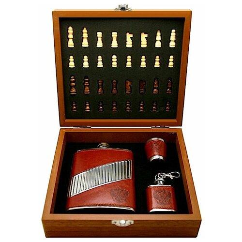 Подарочный набор: шахматы, фляга, стакан, фляга-брелок