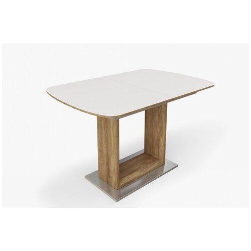 EVITA/Стол обеденный Палермо FC13 белое дерево.,ноги дуб монтана/стол кухонный/стол на кухню/стол раздвижной/стол пластиковый/стол модерн/стол в гостиную/стол маленький/стол недорогой/стол лофт/стол раскладной