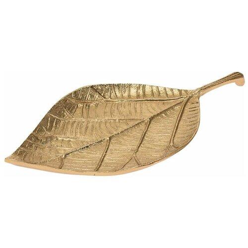 Тарелка декоративная Лист (золото)
