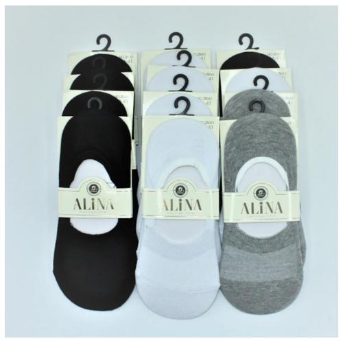 Носки женские следки 3 цвета Alina ZB 061/ 12 пар, черные, белые, серые, размер 36-41
