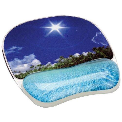 Коврик д/мыши гелевая подкладка д/руки тропический пляж Fellowes CRC-92026