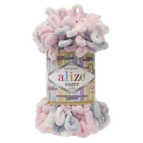 Пряжа Alize Puffy Color 100г, 9м (Ализе Пуффи Колор) цвет 5864 св.розовый/белый/св.серый