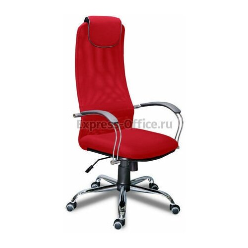 Кресло для руководителя Экспресс офис Фокс хром, обивка: текстиль, цвет: ткань сетка красная